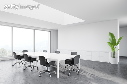 Panoramic white meeting room with nice view