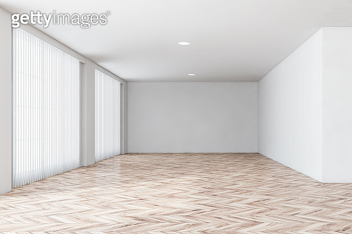 Empty white room interior with shutters