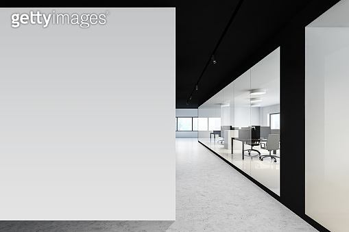 White and black office with mock up wall