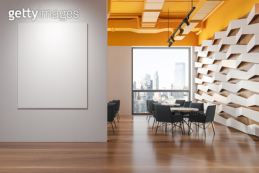 Yellow ceiling geometric pattern cafe with banner