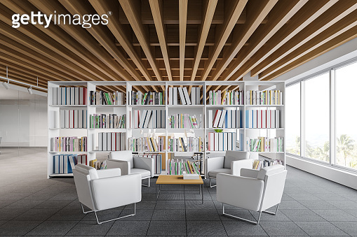White office waiting room interior with bookcase