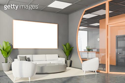 Futuristic gray office meeting room corner, poster