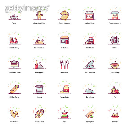 Mouth Watering Food and Drinks Flat Icons Pack