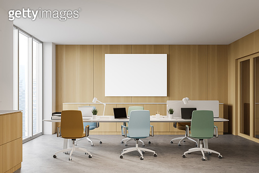Wooden open space office interior with poster