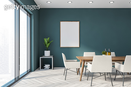 Blue panoramic dining room with poster