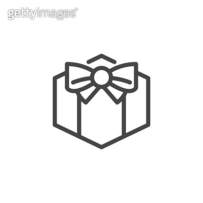 Gift box with ribbon linear icon. Present, surprise, sale concept contour label. Pictograph for holidays, contests, giveaway and other events. Vector illustration isolated on white background
