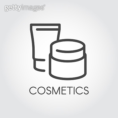 Abstract jars for lotion, cream and other care products for facial or body thin line icon. Template beauty cosmetic logo. Skincare, treatment, hygiene concept. Contour label. Vector illustration