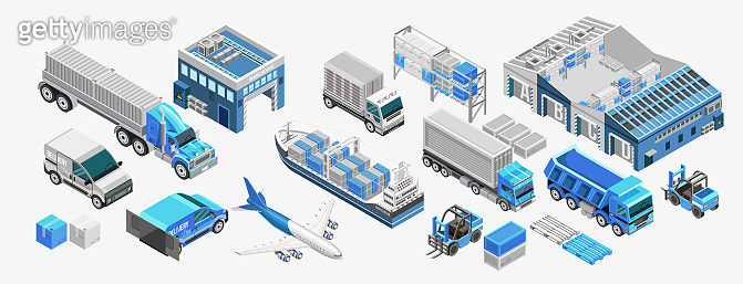 Blue freight transport and warehouses