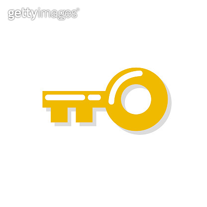 Gold key icon. Vector illustration in flat design