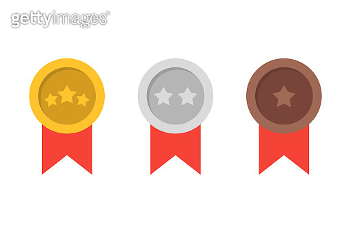 Medals : Gold, Silver and Bronze. Vector illustration in flat design