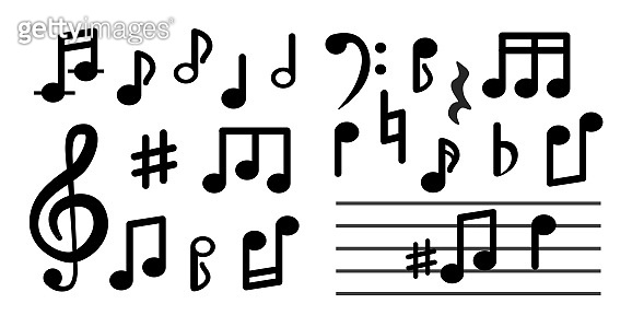 Musical notes isolated on white background.