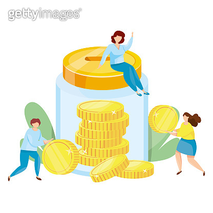Banking deposit vector illustration. Money Savings concept. Glass jar with coins inside. Cash protection. Finance saving banner. Money investment. Bank cell vector illustration.
