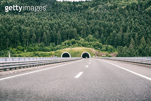 Picturesque highway in Croatia (autocesta A), the main automobile road with tunnel. Scenic daytime landscape
