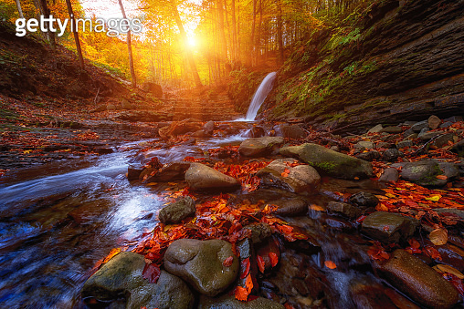 Amazing nature autumn landscape with waterfall in the forest