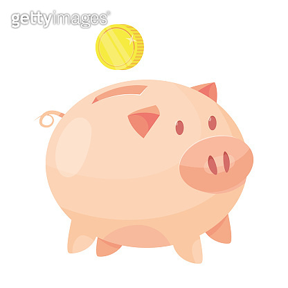 Piggy bank with coins and cash vector illustration. Money Savings concept. Cash protection. Finance saving banner. Money investment. Deposit.