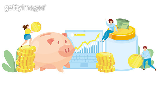 Banking deposit vector illustration. Money Savings concept. Cash protection. Finance saving banner. Money investment. Piggy bank with laptop and stacked glass jar vector illustration.