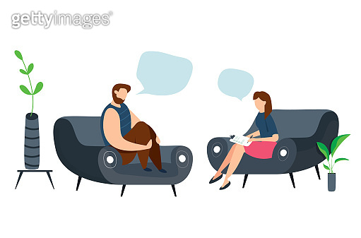 Modern vector illustration of Psychotherapy. Woman psychologist and crying and sad man patient. Sitting on sofa. Mental health concept.