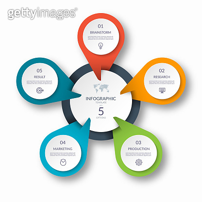 Infographic circle diagram template with 5 options. Can be used as a chart, graph, workflow layout, for web, report, business infographics.