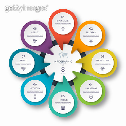 Infographic circle diagram template with 8 options. Can be used as a chart, graph, workflow layout, for web, report, business infographics.