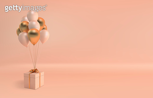 Vector illustration of realistic balloons and gift box with bow on beige background. Empty space for party, promotion social media banners, posters.