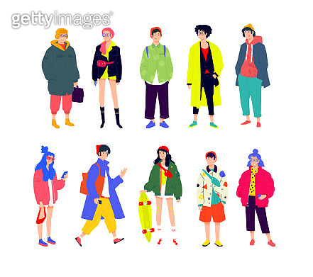 Illustration of a young fashionable people. Vector. Girls and boys in fashionable modern clothes. A generation of mellinials and hipsters with phones. Buyers and shopaholics. Flat cartoon style. Full set.