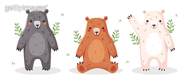 Cute bear isolated. Funny cartoon animal. Characters for kids. Vector illustration. Flat eps10.