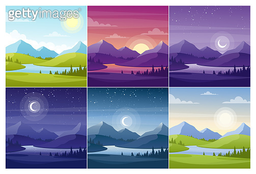 Nature landscapes at different day time flat vector illustrations set
