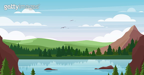 Mountain lake landscape vector illustration, cartoon flat summer nature, picturesque mountainous scenery with blue lake waters, pine forest background