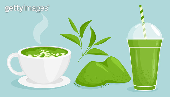 Matcha tea vector illustration set, cartoon flat green powder and leaf, delicious bubble tea, hot cup of matcha latte from Asia isolated icons