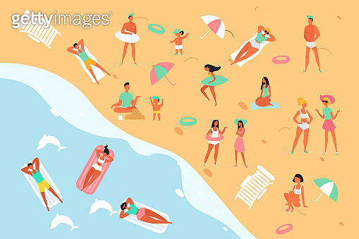 Summertime relax people on sea, ocean beach flat design style vector graphic illustration concept