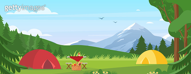 Summer camping vector illustration. Cartoon flat tourist camp with picnic spot and tent among forest, mountain landscape on sunny day. Outdoor nature adventure, active tourism in summertime background.