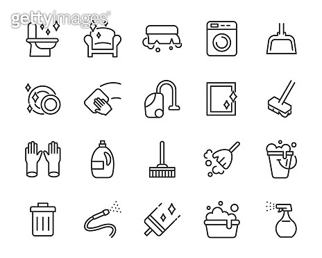 set of cleaning icons, washing, service, housekeeping
