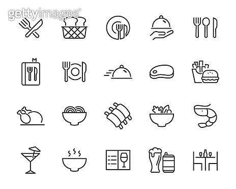set of restaurant, icons, food, menu, drinks, chef