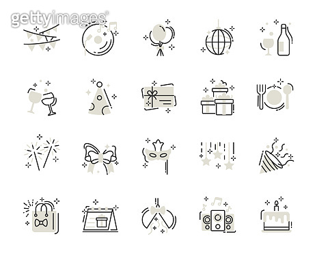 set of celebration thin line icons, party, birthday, new year