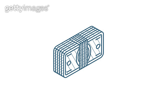 banking, money bundle, dollar banknotes isometric icon. 3d line art technical drawing. Editable stroke vector