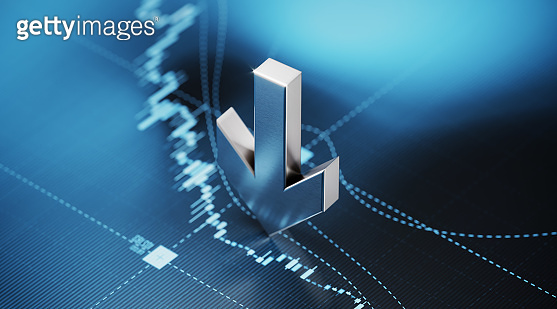 Arrow Symbol Sitting over Blue Financial Graph Background - Stock Market and Finance Concept