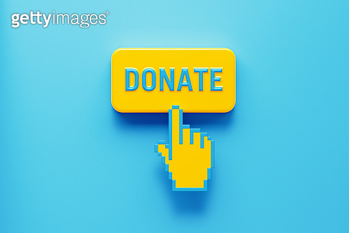 Hand Shaped Computer Cursor Clicking over A Yellow Push Button: Donate Written on Push Button