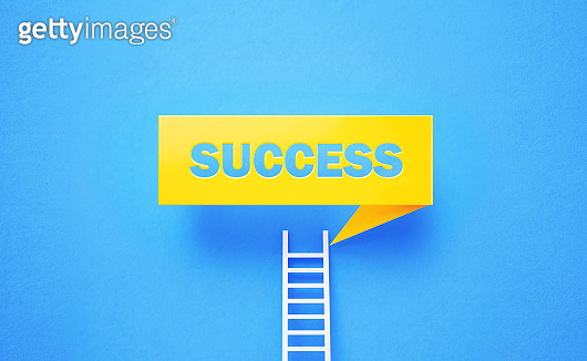 White Ladder Leaning onto Success Written Yellow Chat Bubble on Blue Background