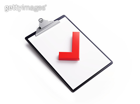Black Clipboard with Red Check Mark Isolated on White Background