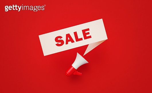 Sale Written White Chat Bubble and Red Megaphone on Red Background
