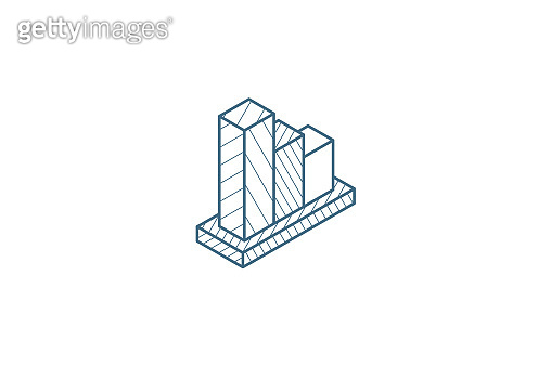 graph chart decline, fall market stock bar isometric icon. 3d line art technical drawing. Editable stroke vector