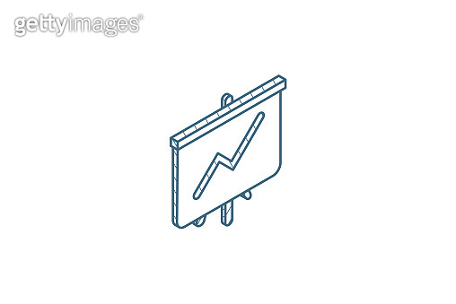 growth graph chart, market success, stock bar up isometric icon. 3d line art technical drawing. Editable stroke vector