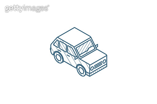 car, hatchback isometric icon. 3d line art technical drawing. Editable stroke vector