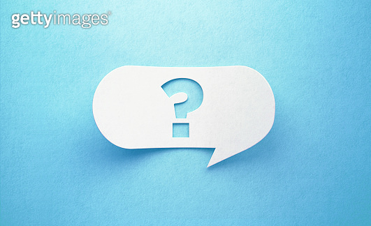 Question Mark Written White Chat Bubble On Blue Background