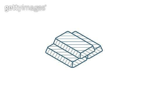 gold bar isometric icon. 3d line art technical drawing. Editable stroke vector