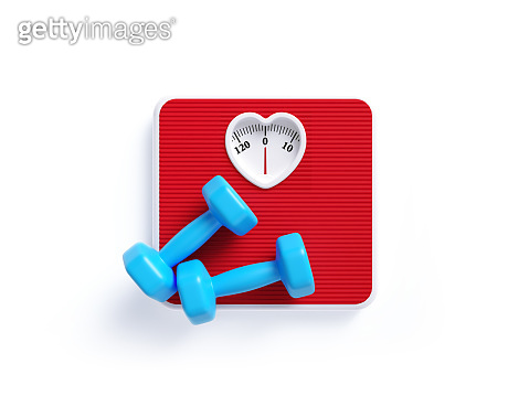 Heart Shaped Red Bathroom Scale and Blue Dumbbells on White Background