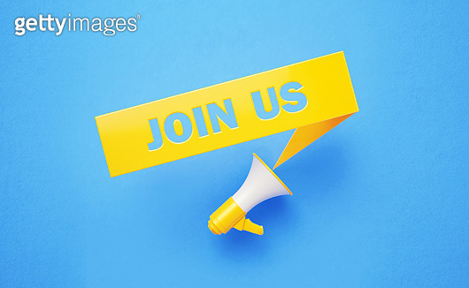 Join Us Written Yellow Chat Bubble and Yellow Megaphone on Blue Background