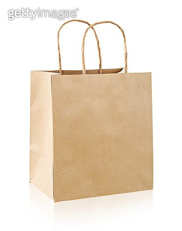 Vintage paper bag isolated on white background.