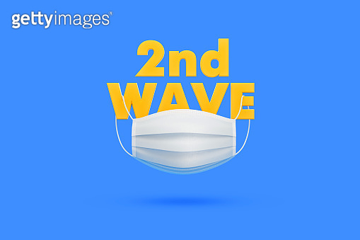 White Protective Mask Hanging from 2nd Wave Text over Blue Background