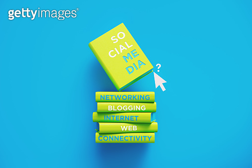 Books of Social Media and Networking Over Blue Background